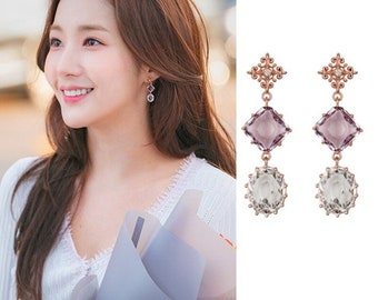 Park Min-Young Flower Dangle Earring Dangle Earrings Korean Drama S925 What/'s Wrong With Secretary Kim Diamond Floral Statement Earring