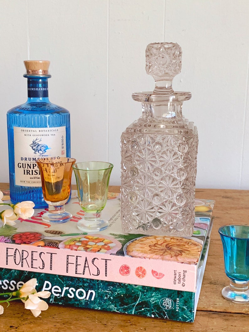 Whiskey Decanter Barware Bar Cart Decor Small Vintage Fenton Glass Pressed Glass Square Decanter in Daisy Button Pattern with Stopper