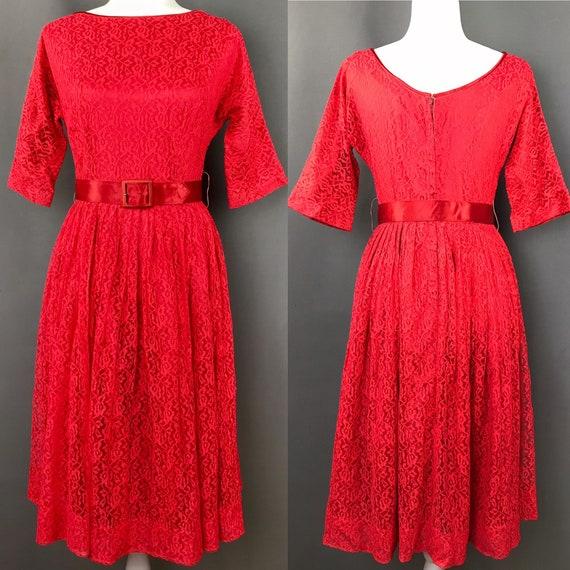 50s Ricci Originale Vintage Strawberry Red Lace Dr