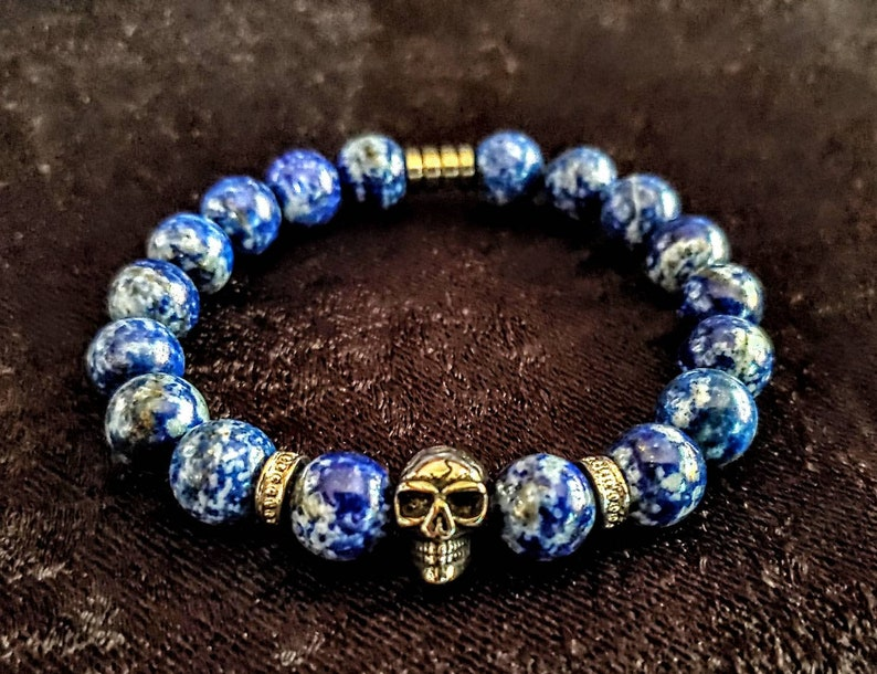 Lapis Lazuli Beads 10mm & Stainless Steel Skull Barrel and image 0