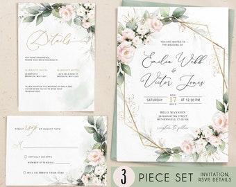 Blush Pink Botanical Wedding Invitation Navy  Wedding Invitation Template Blush watercolor Invitation Luxury Wedding 003 Modern Elegant