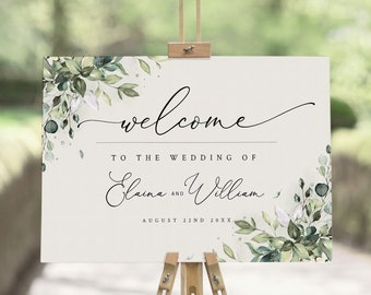 Greenery Welcome Sign Template, Large Welcome Sign for Wedding, Event Welcome Sign, Boho Greenery Wedding Sign Poster, Welcome PDF, ARIA