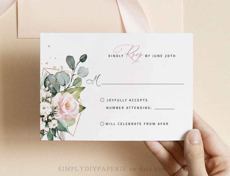 Blush pink floral invitation wedding template set invitation with rsvp wedding bundle template download elegant floral Invitation LILIA