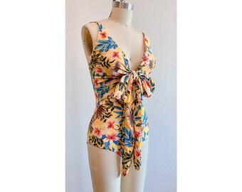 ac22c0ae0aa Retro Swimsuit / One Piece Swimsuit / Yellow Floral Swimwear / Cross Wrap  Swimsuit