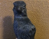 Raven- Fun little chainsaw carved Raven for home, cabin, office, or great gift for bird lover, or sports fan