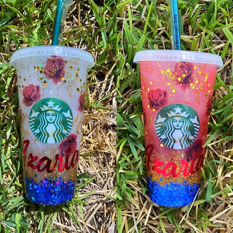 custom color changing Starbucks cup with lid /& straw Ombre with glitter