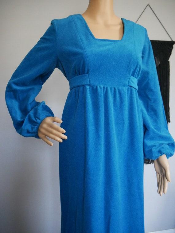 True Vintage 1960's Blue Textured Maxi Dress Bisho