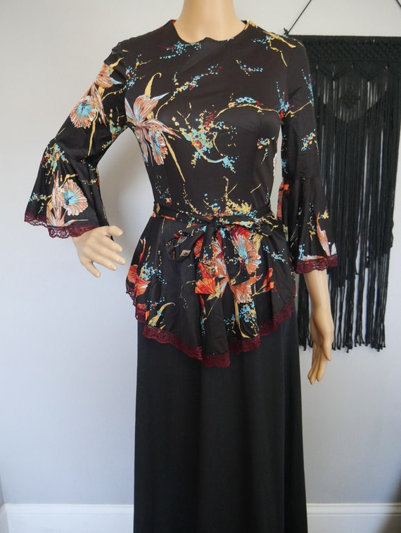 Stunning 1970s Black and Floral Bell Sleeve Maxi D