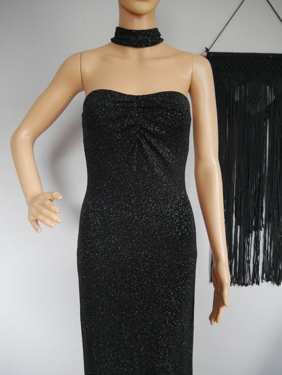 True Vintage 1980s Jessica McClintock Black Stret… - image 1