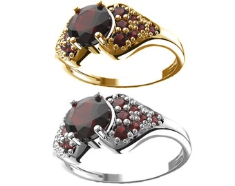Volcano ring with natural garnets in white and yellow gold 925 Sterling Silver 22 K+Rh, 585 White Gold 14 K, 585 Yellow Gold 14 K