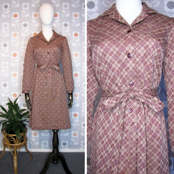 Vintage 60's / 70's  Burgundy Tan Plaid Shirtdress
