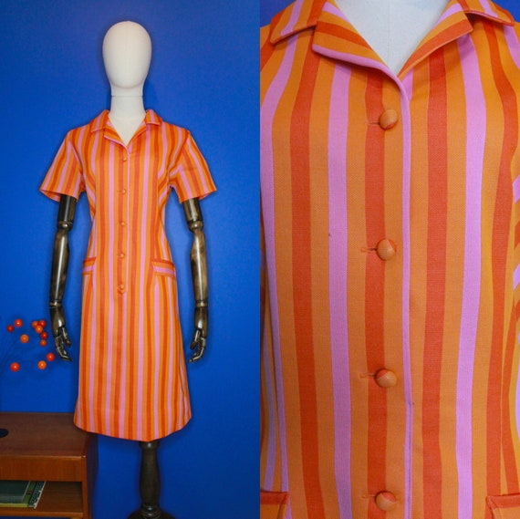 Vintage 60's Candy Stripe Button-Up Shift Dress Sz