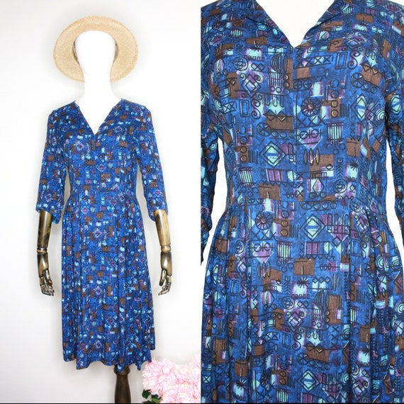 Vintage 60's(?) Homemade Blue Mod Print Dress Sz S