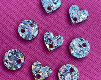 Glitter Flake Holographic Silver Bulk lot of 15mm Hearts or Circles