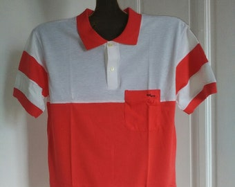 Men's polo shirt, short sleeves, made in Spain, 90's, red and white color, cotton , polyester, french SIZE: 44 and 48