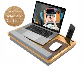 Lap Desk Laptop Stand REAL Wood with Cushion Gift Laptop Table 15.6 in Phone Holder Wrist Supported Lap Desk Laptop Tray Pillow