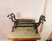 Two matching pairs of antique firedogs andirons log holders - hand forged.