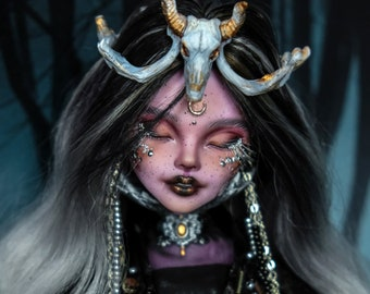 Ooak Monster doll Forest Witch Shaman Raven