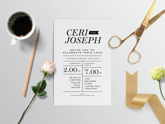 Printable DIY Wedding Invites - use a gorgeous digital template to create your own at home! - Ceri design #2
