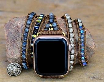 Boho multi wrap bracelet for Apple Watch onyx
