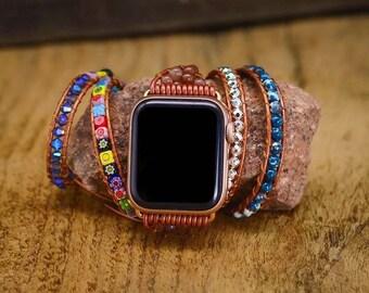 Boho multi wrap bracelet for Apple Watch crystal coloured glaze