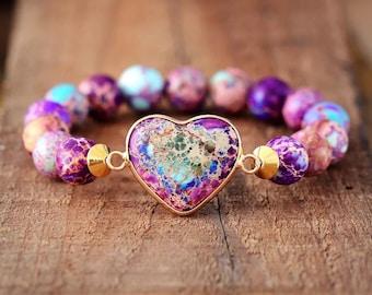 Boho Imperial Jasper Heart Stretch Bracelet