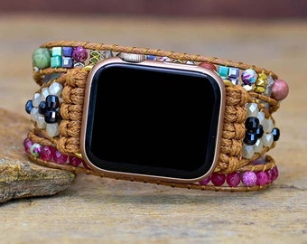 Boho multi wrap bracelet for Apple Watch Pink Agate