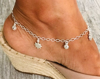 EA20 Silver Anklet Bracelet Celestial Charm Anklet 925 Sterling Silver Charm Anklet Dangling Star Silver Charm Anklet Star Charm Anklet