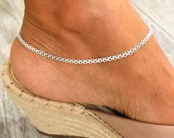 4 MM Thick Anklet Anklet Bracelet Open Link Silver Anklet - EA67 10\u201d long Sterling Silver Anklet 925 Sterling Silver Anklet