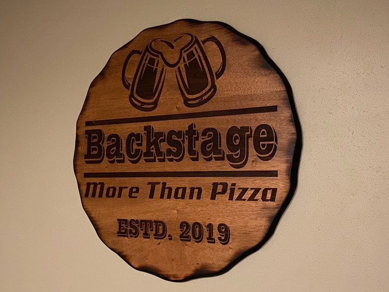 Western Farmhouse Personalized Circle Man Cave Brewery FREE Shipping Custom Engraved Wood Bar Sign Rustic Wood Beer Decor