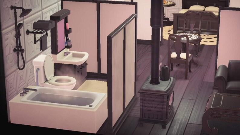 Black /& White Apartment Animal Crossing ACNH 44 Pieces