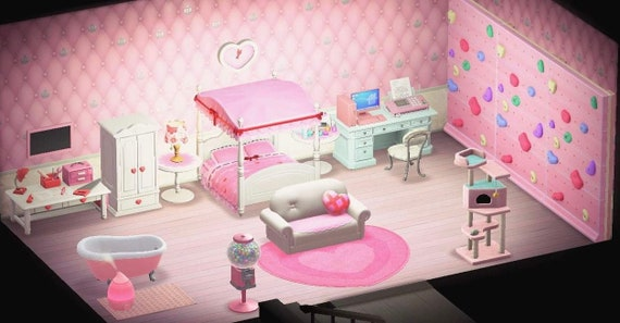 Pink Cute Bedroom With Rock Climbing Wall 25 Pieces Animal Etsy