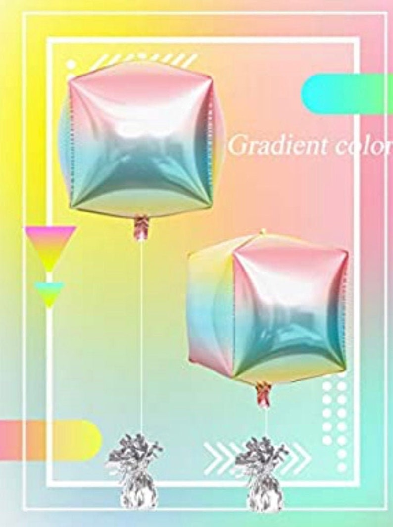 OMBRE Cube Square Balloons 24 Pastel tones Party balloons cube balloon rainbow tones balloon foil balloons