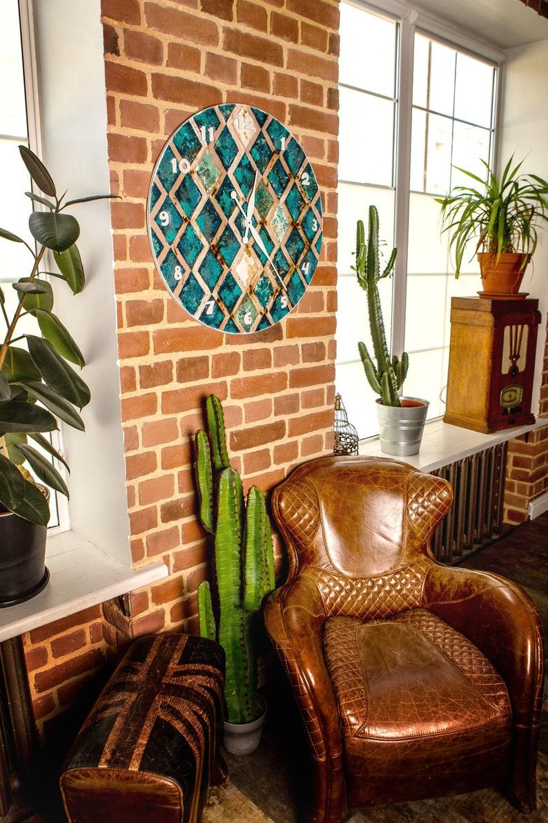 Grande horloge murale turquoise silencieuse de 27,6/70 cm, objet d'art mural texturé d'abstact géométrique, décor mural boho turquoise, cadeau de pendaison de crémaillère