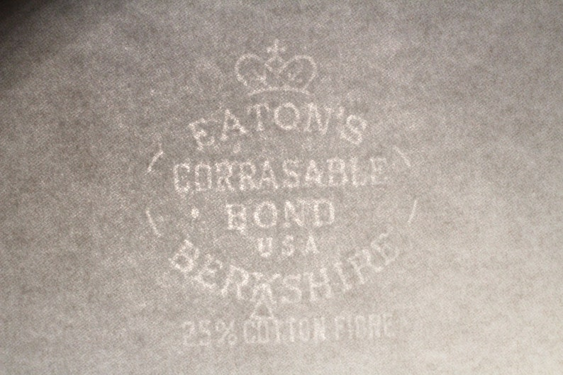 Vintage Typewriter Paper Eaton/'s Berkshire Elegant Watermarked 25/% Cotton Creative Writing Medium For Special Projects Archival Quality