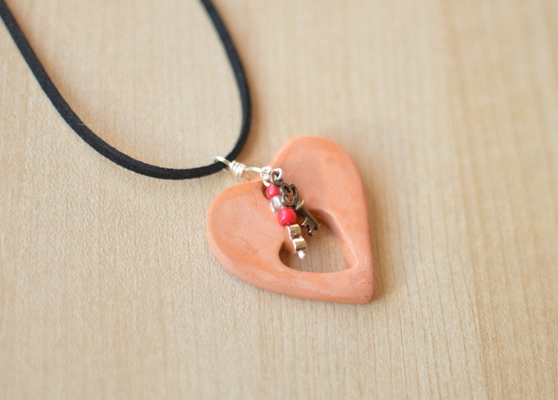 Valentine/'s Day Gift Pendant Essential Oil Pendant Jewelry Clay Heart and key Pendant