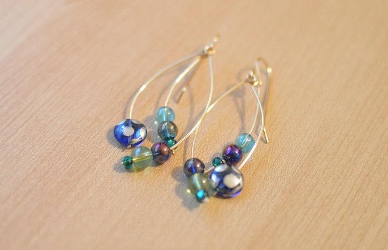 Dangly Whimsical jewelry anniversary gift for girlfriend Stylized Peacock Aesthetic Earrings Animal Earrings