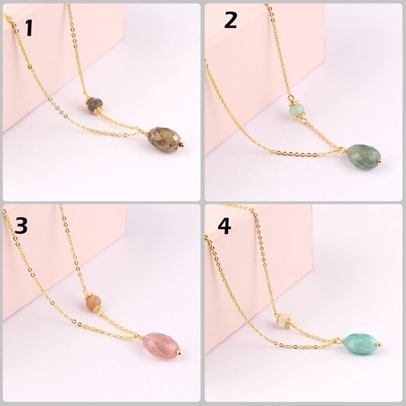 Cherry Quartz Necklace For Women Gift For Her Labradorite Gold Plated Chain Necklace Aquamarine Necklace Chain Valentines Necklace Gift