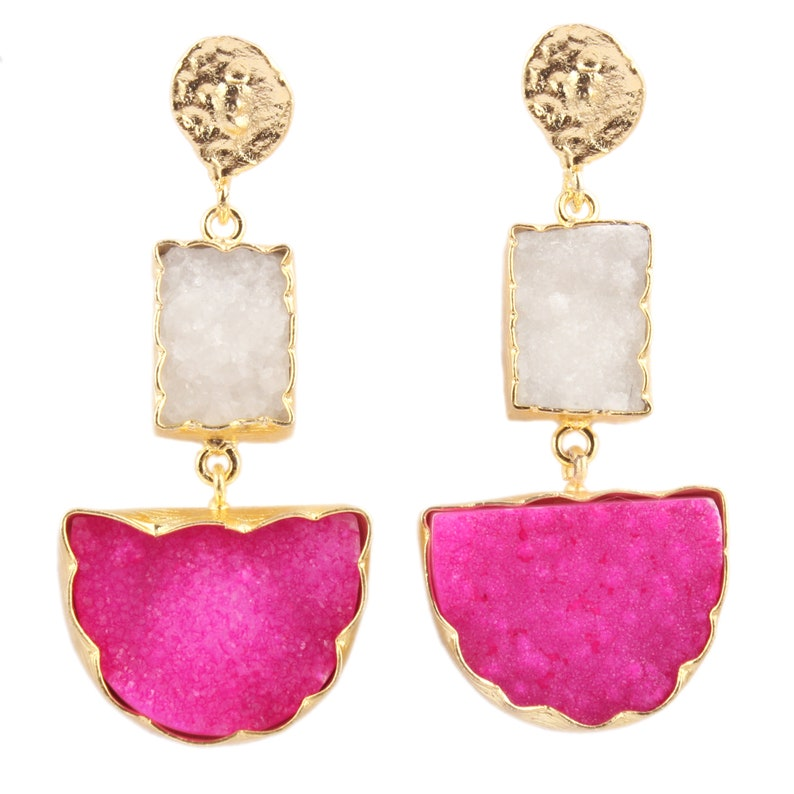 Yellow Gold Plated Earring Sugar Druzy Earrings Green Earrings Her Blue Druzy Earrings Natural Agate Druzy Earrings Pink Druzy Earrings