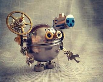 steampunk art robot art button bot Steampunk robot button art robot decor steampunk decor