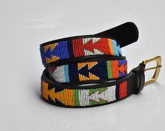 ON SALE Masai belt, Leather belt, Beaded belt, Handmade belt, Maasai beaded leather belt, African beaded belt, Men belt, Casual belt, Boho b
