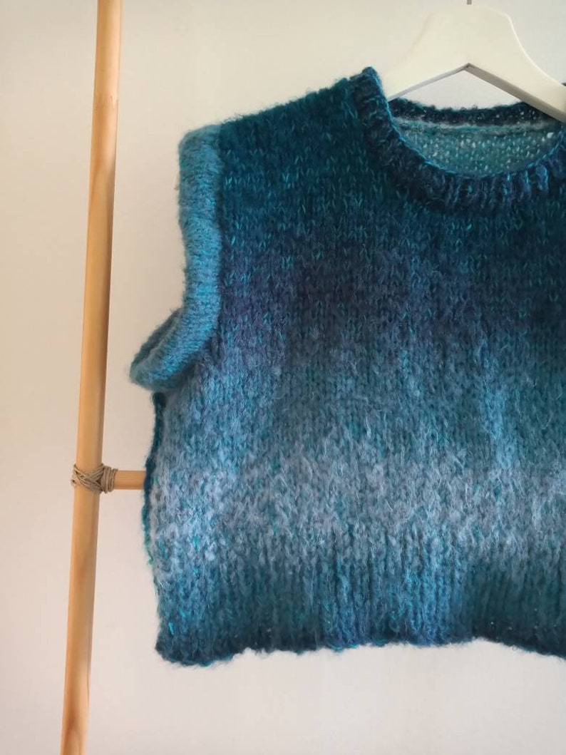 Blue Fade Cropped Handknitted Vest
