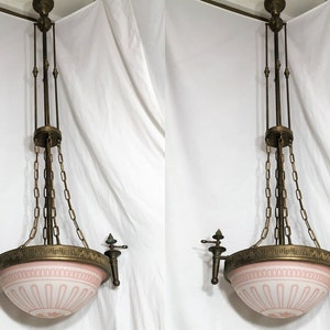 3 Antique Arts /& Craft Hanging Lanterns Porch Light Fixtures Chandeliers Pullman Railroad Car Chandeliers Clear Glass 1900s Hanging Lights