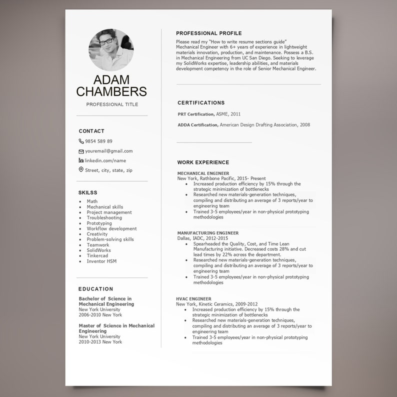 Engineer Resume Template Templates Engineering For Cv Modern