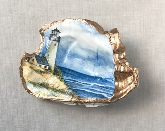 Oyster Shell Ring Dish, Beach Wedding Favors, Beach Jewelry Holder, Place Card Holder, Gold Leaf Edge, Bridesmaid Gifts, Coastal Decor