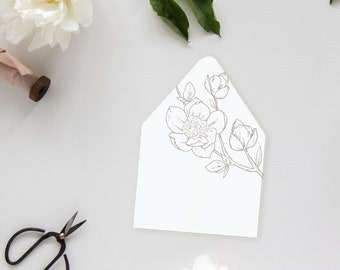 Magnolia Envelope Liner - Perfect for a Southern, traditional wedding and adds a pop of interest to your wedding envelopes! Euro flap liner