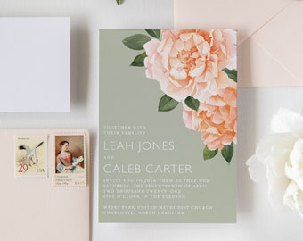 Watercolor Peony Semi-Custom Wedding Invitation with RSVP card, blank main envelope, & blank RSVP envelope. Perfect for spring or summer!