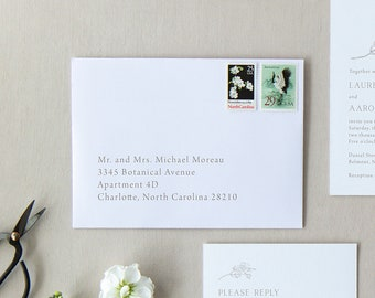 Magnolia Branch Guest Address Printing Add-on-Envelope Addressing, printed addresses, modern & minimal, simple, semi-custom