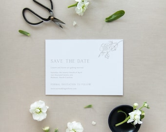 Magnolia Branch Semi-Custom Save the Date - Save Our Date, blank envelopes included. Hand drawn magnolia flower, negative space