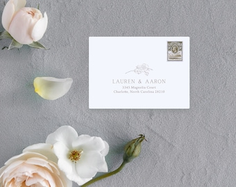 Magnolia Branch Response Address Printing Add-on - add your return address to your RSVP envelopes with this minimal, simplistic magnolia